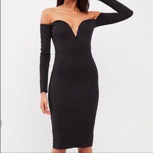 Black Bardot V Bar Midi Dress